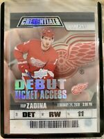 2019-20 CREDENTIALS FILIP ZADINA DEBUT TICKET ACCESS CLEAR /299 RED WINGS RTA-15