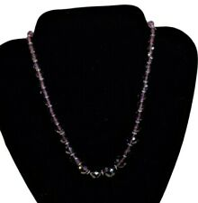 """Amethyst Necklace Chunky Strand Purple Stones With Crystal Spacers 9"""" Drop"""