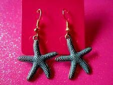 Patina Star Fish Dangle Earrings