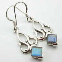 "925 Pure Silver Earrings Pair !! Blue Fire LABRADORITE CHRISTMAS Jewelry 1.5"""