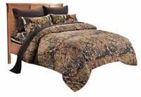 WOODLAND BROWN BLACK CAMO 7pc King COMFORTER SET : BED IN A BAG SHEET WOODS HUNT
