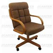 Casual Caster Dining Arm Chair Swivel Tilt Oak Wood (Set of 2)