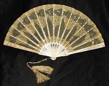 EVENTAIL EN OS SCULPTE TULLE BRODE 19ème siècle  antique french fan