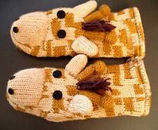 GIRAFFE MITTENS knit ADULT SIZE puppets FLC LINED animal costume handmade delux