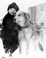 ALASKAN BOY W/ DOG IN ALASKA EARLY 1900S 11x14 SILVER HALIDE PHOTO PRINT