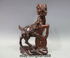 13 Chinese Red Wood Handwork Zodiac Wealth Fengshui Animal Sheep Goat sculpture