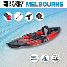 Fishing Kayak Sit-On 3M 5 Rod Holders Seat Paddle Melbourne Red Black