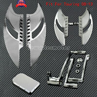 Chrome Driver + Rear Floorboards Foot Rests Shift Lever Brake Fit For Touring 08