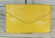 Vintage 80s Yellow Italian Glazed Woven Large Summer Clutch Bag Boho