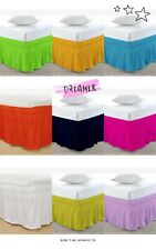 "Wrap Around Bed Skirts Elastic Dust Ruffles Fit Cotton All Size & Colors 16""Drop"