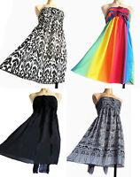 ELASTICATED RAINBOW black, grey STRAPLESS SUMMER BEACH DRESS UK SIZE 10 - 14 new