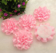 5pcs Pink satin ribbon big Peony Flower Appliques/Wedding/decoration !
