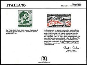 USPS PS60 Souvenir Card, Italia'85, Italy 500 Lire and US 3 cent stamp, 1985