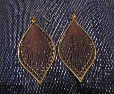 Wonderful bronze tone metal earrings brown fabric fan design orange stone