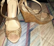 Alexandre Birman 7.5 Gold Wedge Sandals Heels Shoes