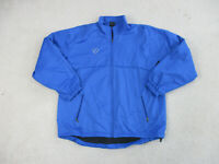 Nike Jacket Adult Large Blue Black Swoosh Full Zip Windbreaker Coat Mens A14