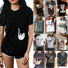 Damen Kurzarm Bluse Hemd Freizeithemd T-Shirt Oberteil Lässig Shirts Sommertops