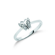 9ct White Gold & Diamond Butterfly Ring - Fully Hallmarked