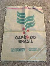 CAFES DE BRASIL COFFEE BEAN JUTE BURLAP SACK BAG crafts decor