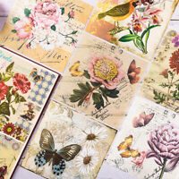 4 Pcs Flowers Butterfly Background Paper Journal Scrapbooking Vintage DIY Craft