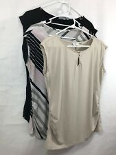 Set of 3 Womens M Cap Sleeve Top Blouse Fited Stretch Career Black Baige Multi