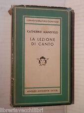 LA LEZIONE DI CANTO E ALTRI RACCONTI Katherine Mansfield Mondadori Medusa 1950