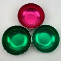Vintage Green Magenta Pink MCM Anodized Aluminum Snack Bowls Set 3 Popcorn