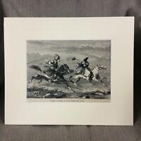 1890 Antique Print Persian Huntsman Horse Rider Middle Eastern Landscape Persia