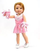 """Pink Cheerleader Uniform For 14.5"""" Wellie Wishers American Girl Doll Clothes"""