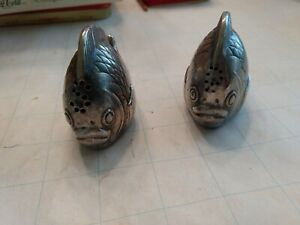 Vintage Collectible Pewter Tropical Fish Figurine Salt and Pepper Shakers