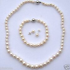 Graduated Off-Round Freshwater Pearl Necklace Bracelet Earring Set 5-10mm