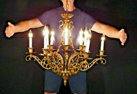 ANTIQUE French Bronze FAUX BAMBOO 12 Arm 12 Lite Hollywood Regency Chandelier
