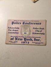 Vintage 1972 Schenectady New York Police PBA Card Historical Policeman Cop