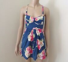 Abercrombie Womens Floral Dress Size XS Tank Top Shirt Navy Blue