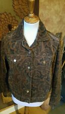 Rena Rowan 100% lined brown paisley denim style jacket,  S