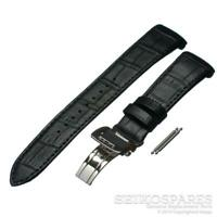 Seiko Watch Strap Premier SNAD29P 7T62-0JW0 Black Leather Deployant Buckle Band