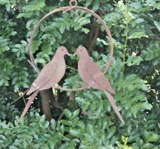 Kissing doves in metal ring birds outdoor decoration