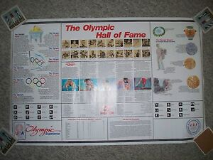 Olympic Hall Of Fame Vintage Poster Highlights Past Gold Medal Winners 1984