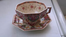 ?1878 - 1890 LARGE OCTAGONAL CUP AND SAUCER BY SARREGUEMINES IN PEKING PATTERN