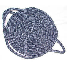 1/2 Inch x 25 Ft Navy Blue Double Braid Nylon Mooring and Docking Line for Boats