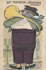 Vintage Postcard Novelty Trompeter, Purple Pants With Paper Unposted