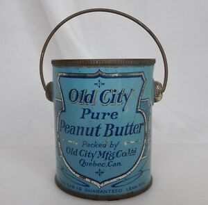 Old City Peanut Butter Canada Advertising Food Tin Pail Can -  83902