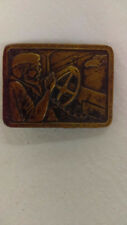 Vintage 70's Bergamot Brass Works CB Smokey Trucker Belt Buckle