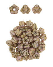 50 Rose Gold Topaz Baby Bell Flower Czech Glass Beads 6MM