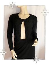 Magnífico Chaleco Bolero Negro De Vestir Encaje 123 Talla 42 Nuevo