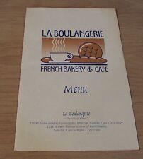 "1994 FRENCH Bakery & Cafe MENU 'The Village Baker'~""LA BOULANGERIE"" Fresno CA~"
