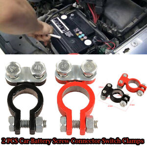 2PCS  Car Battery Terminal Clips Disconnect Switch Screw Connector Switch Clamps