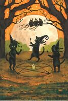 LE 4x6 HALLOWEEN POSTCARD 1/200  RYTA VINTAGE STYLE BLACK CAT WITCH's CIRCLE