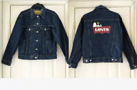 Levis Premium X Snoopy Ex-boyfriends Denim Trucker Jacket Size XS Snoopy Print
