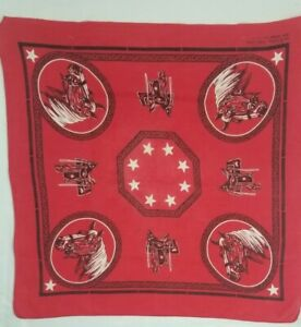 Vintage Red Fast Color All Cotton Bandana Horse Saddle Handkerchief USA